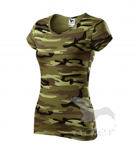 Pure tričko dámské camouflage green 2XL