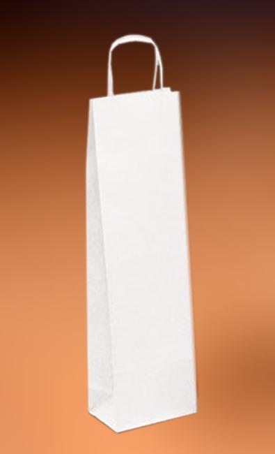 Papírové tašky o rozměru 140 x 70 x 390 mm, kroucená pap. držadla, bílé