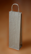 Papírové tašky o rozměru 140 x 70 x 390 mm, kroucená pap. držadla, hnědé