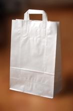 Papírové tašky o rozměru 320 x 130 x 405 mm, bělený sulfátový papír 90 g/m2, bílé
