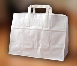 Papírové tašky o rozměru 320 x 220 x 240 mm, bílé