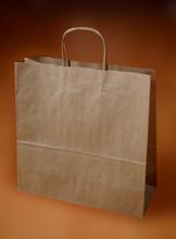 Papírové tašky o rozměru 360 x 120 x 360 mm, kr. pap. ucho, hnědé