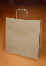 Papírové tašky o rozměru 460 x 170 x 480 mm,  kr. pap. ucho, hnědé