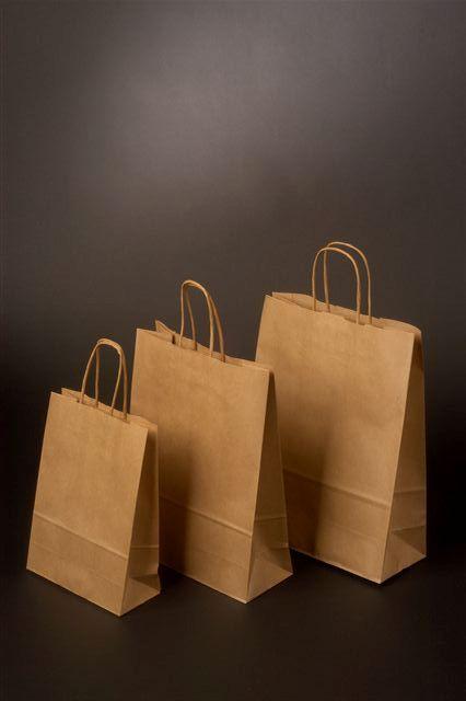 Papírová taška o rozměru 180 x 80 x 250 mm, hnědý sulfátový papír, kr.pap.držadla