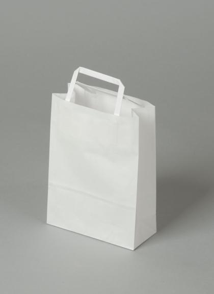 Papírové tašky o rozměru 180 x 80 x 250 mm,bílé, kraftový papír.