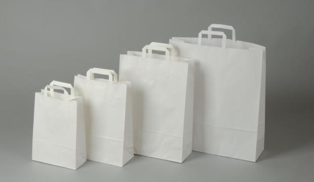 Papírové tašky o rozměru 230 x 100 x 320 mm,bílé, kraftový papír.