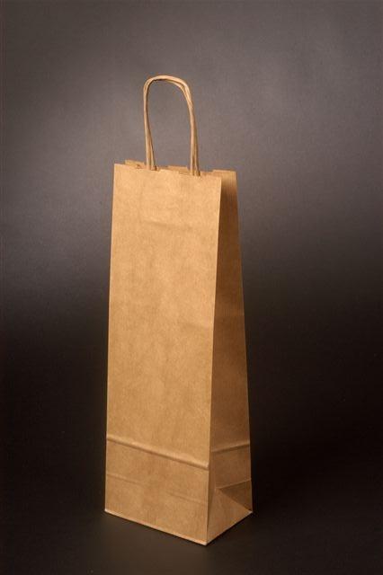Papírové tašky o rozměru 150 x 80 x 400 mm, přírodní