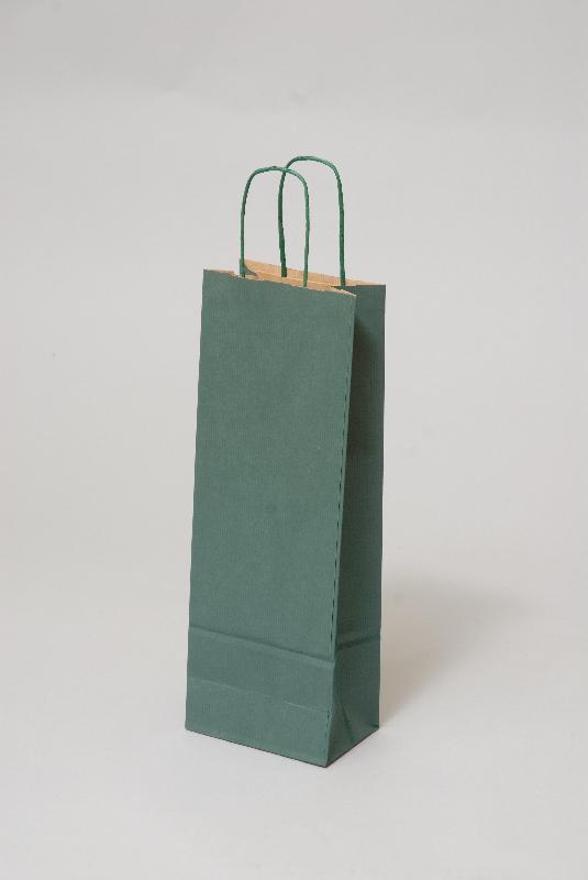 Papírové tašky o rozměru 150 x 80 x 400 mm, zelená