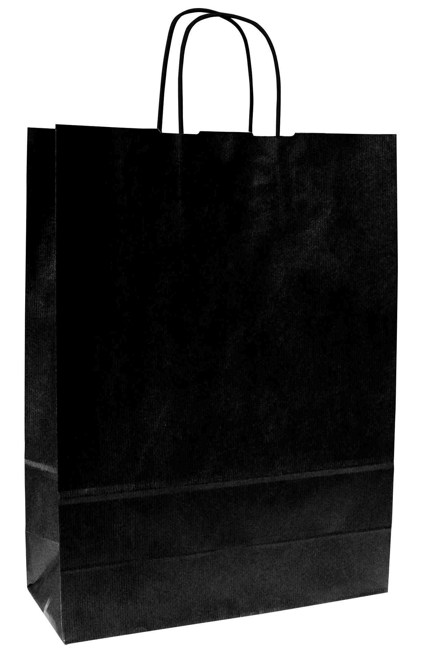 Papírové tašky o rozměru 180 x 80 x 250 mm,černé, kr. pap. držadlo.