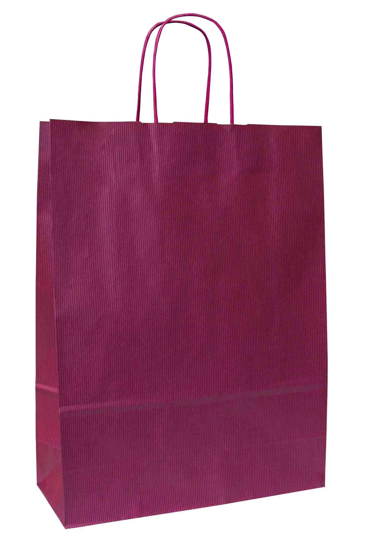 Papírové tašky o rozměru 180 x 80 x 250 mm,vínové, kr. pap. držadlo.