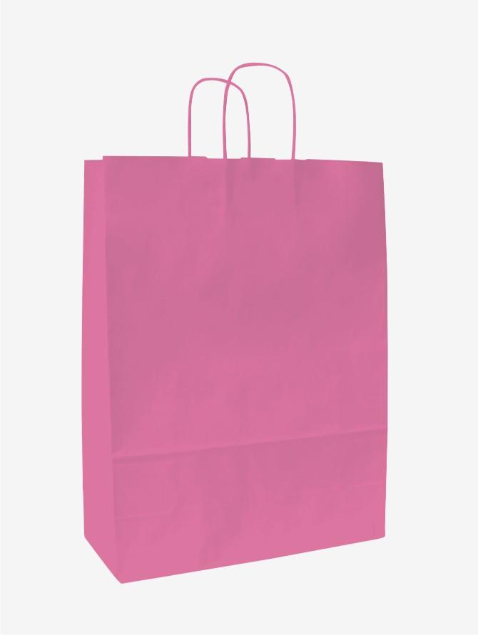 Papírové tašky o rozměru 180 x 80 x 250 mm, růžová, kr. pap. držadlo.