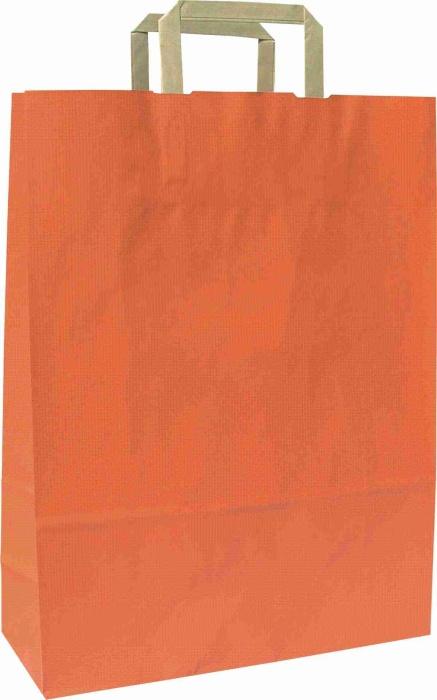 Papírové tašky o rozměru 180 x 80 x 250 mm,oranžová, hnědé ploché držadlo