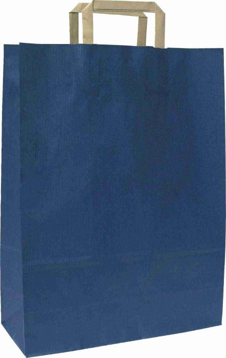 Papírové tašky o rozměru 180 x 80 x 250  mm,modrá, hnědé ploché držadlo