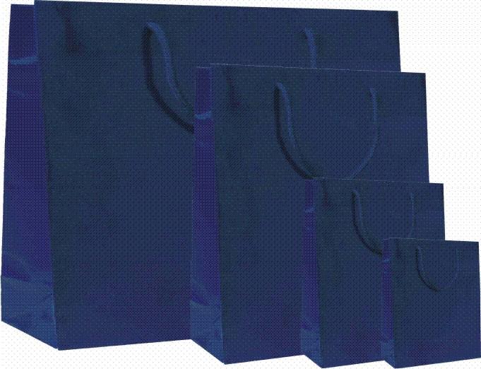 Papírové tašky s laminem o rozměru 160 x 80 x 250 mm, modré