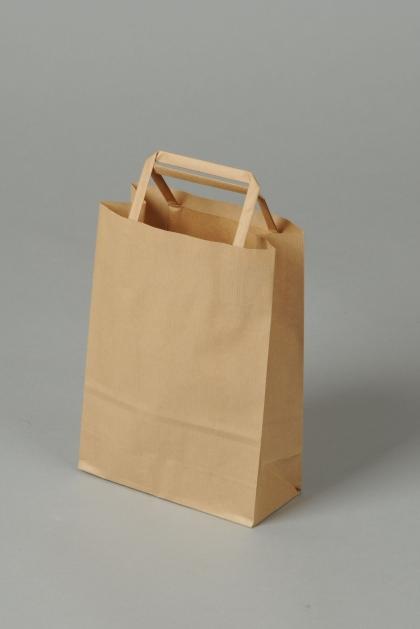 Papírové tašky o rozměru 180 x 80 x 250 mm, hnědé recyklovaný pap.