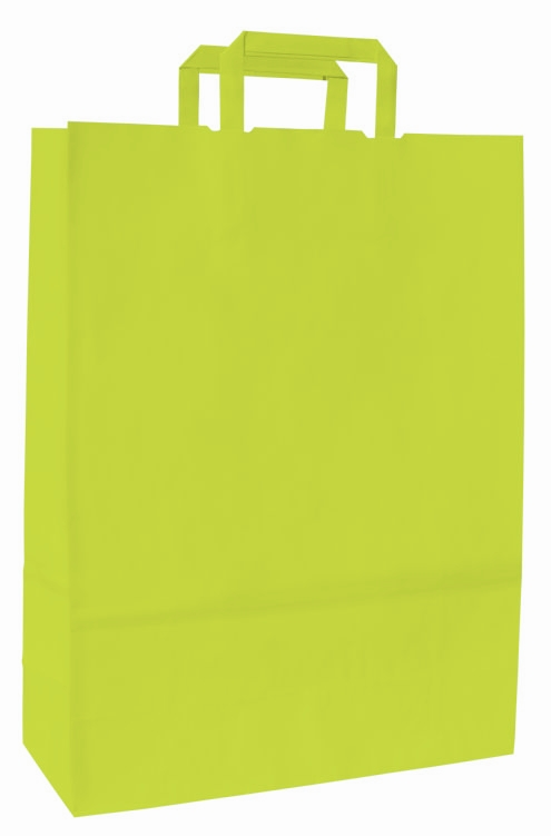 Papírové tašky o rozměru 180 x 80 x 25 mm,zelenožlutá
