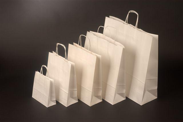 Papírová taška o rozměru 320 x 130 x 280 mm,bílý kraftový papír,bílá pap. kr. držadla