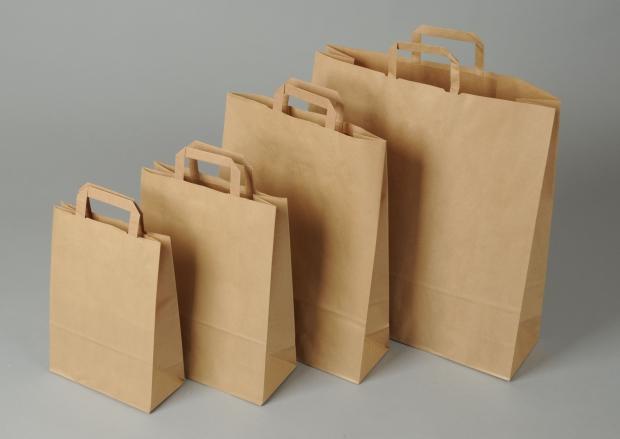 Papírové tašky o rozměru 260 x 160 x 290 mm, hnědé recyklovaný pap.