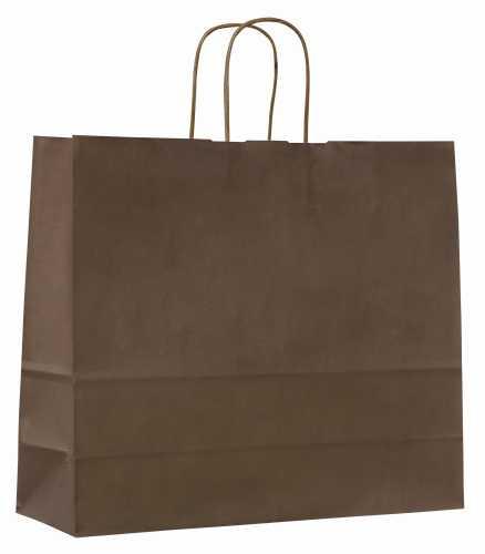 Papírové tašky o rozměru 180 x 80 x 250 mm, hnědé, kr. pap. držadlo.