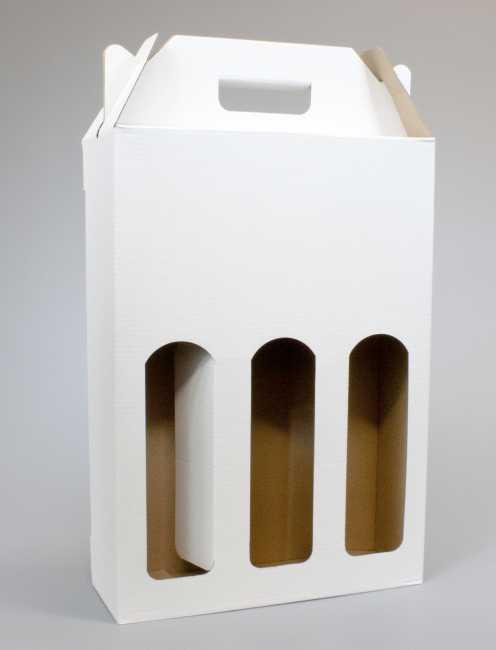 Krabice na 3 láhve 240 x 80 x 345 mm, bílá