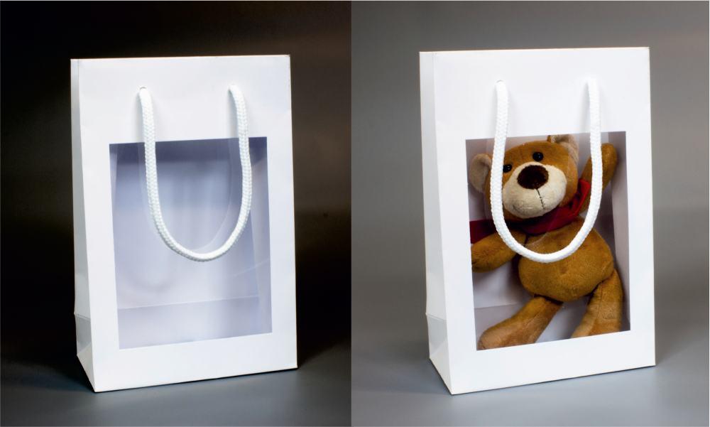 Papírová taška o rozměru 160 x 80 x 240 mm, bílá s plastovým okénkem