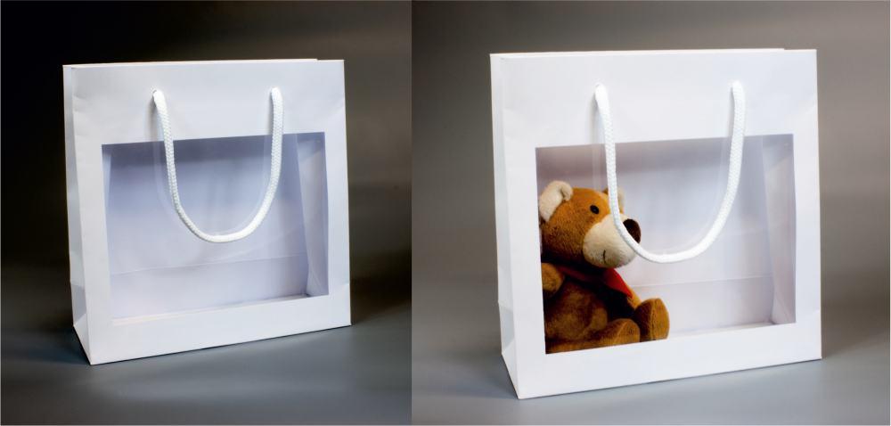 Papírová taška o rozměru 230 x 90 x 230 mm, bílá s plastovým okénkem