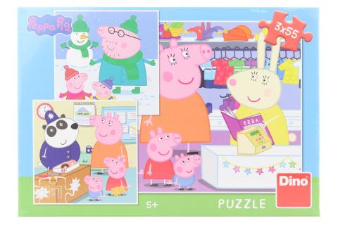 Puzzle Peppa Pig: veselé odpoledne 3 x 55 dílků