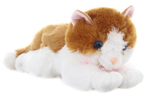Plyš Kočka zrzavo-bílá 30 cm